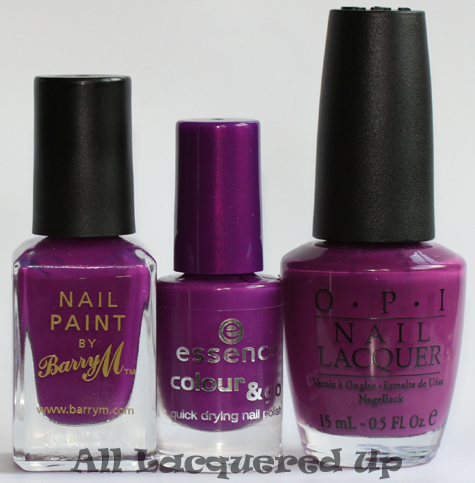 essence break through nail polish comparison dupe opi pamplona purple ALUs 365 of Untrieds   Essence Break Through & Space Queen