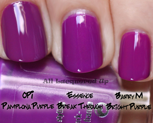 essence break through nail polish comparison swatch dupe opi pamplona purple