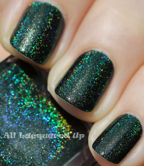 glitter gal lizard belly linear holographic green nail polish swatch