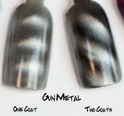 Layla Gun Metal Magneffect Magnetic Nail Polish Swatch