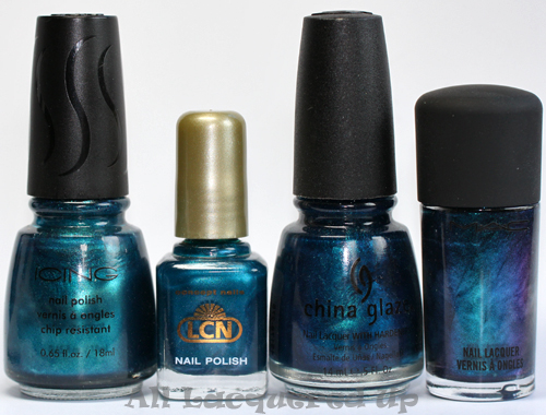 lcn blue laguna nail polish comparison with china glaze rodeo fanatic and mac whirlwind