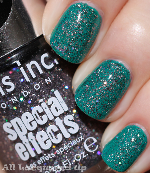 nails inc sloane square 3D glitter special effects over warwick way nail polish swatch