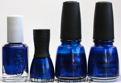 nubar indigo ocean nail polish comparison dupe essie aruba blue ALUs 365 of Untrieds   Nubar Indigo Ocean Mini sized