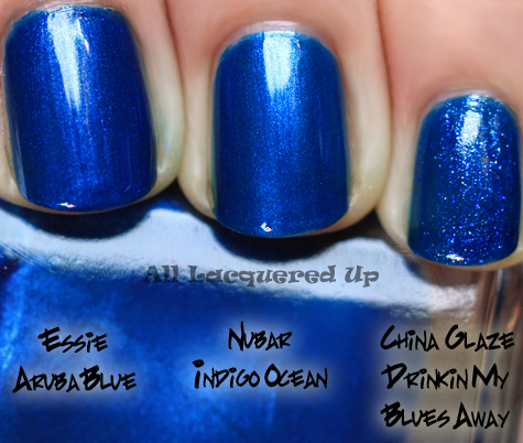 nubar indigo ocean nail polish comparison swatch essie aruba blue ALUs 365 of Untrieds   Nubar Indigo Ocean Mini sized