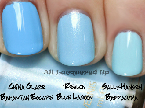 revlon blue lagoon nail polish comparison swatch