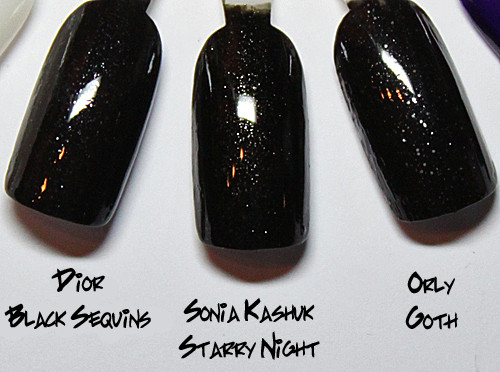 sonia kashuk starry night comparison swatch dupe dior black sequins ALUs 365 of Untried   Sonia Kashuk Starry Night