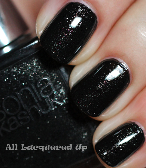 sonia kashuk starry night nail polish swatch black glitter