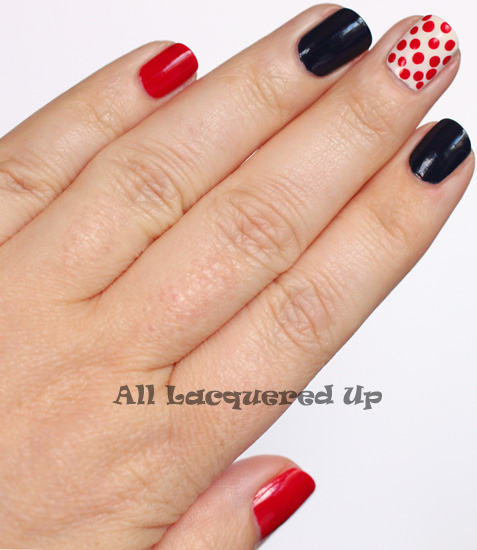 zoya sooki cleveland indians manicure nail art polka dots ALUs 365 of Untrieds   A Home Run Manicure with Zoya Sooki