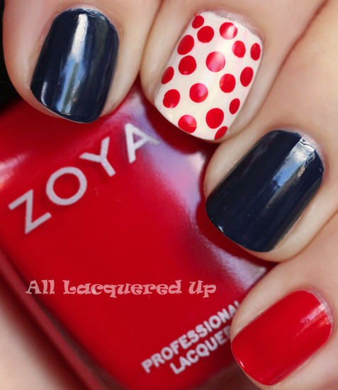 zoya sooki nail polish with cnd midnight sapphire nail polish swatch and nail art polka dot