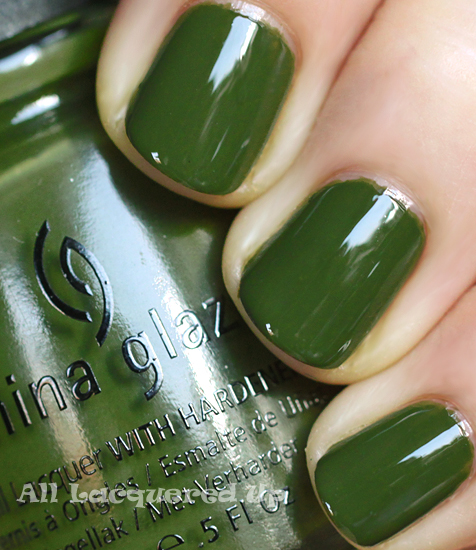 china glaze westside warrior nail polish swatch fall 2011 military green trend