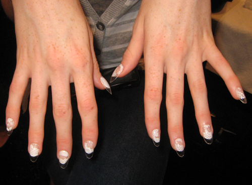 cnd lucite lace nails joy cioci spring 2012 nyfw mbfw Behind The Scenes   My Chance to Assist Team CND at Joy Cioci