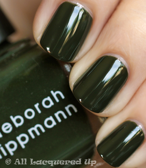 deborah lippmann billionaire nail polish swatch fall 2011 military green trend