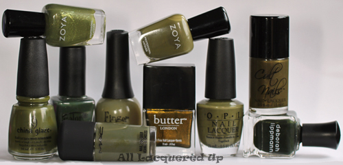fall 2011 nail polish trend military green nail color copy Fall 2011 Nail Polish Trend   Military Greens