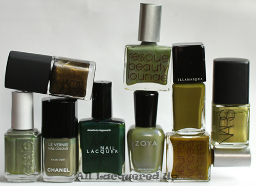 fall 2011 nail polish trend military green olive nail color