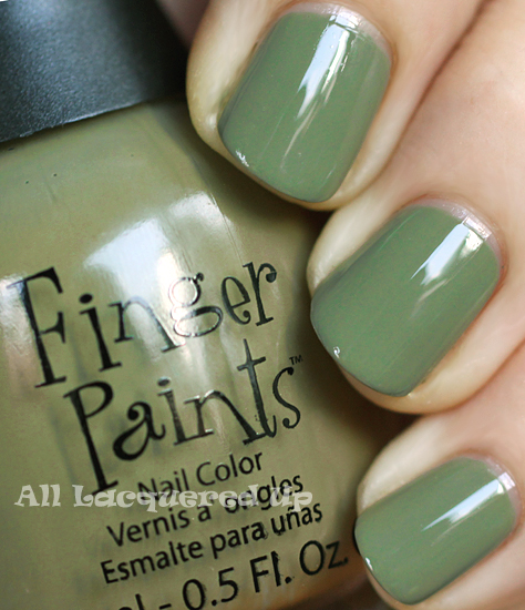 finger paints military green nail polish swatch fall 2011 trend Fall 2011 Nail Polish Trend   Military Greens