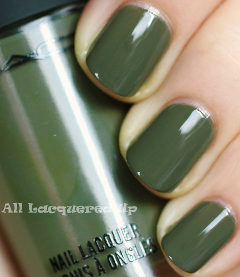 mac fatigues nail polish swatch fall 2011 trend copy Fall 2011 Nail Polish Trend   Military Greens