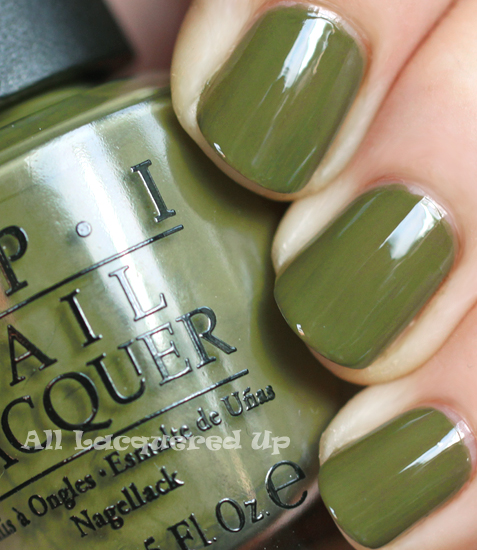 opi uh oh roll down the window nail polish swatch fall 2011 military green trend