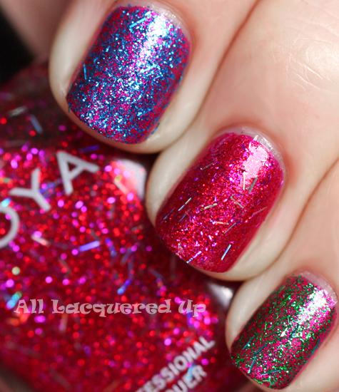 zoya kissy zoya rina zoya twila glitter top coat swatch over zoya izzy holiday 2011 gems jewels