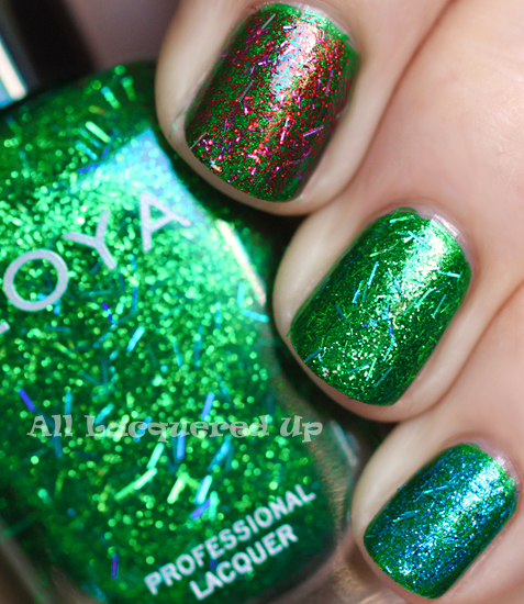 zoya rina, zoya kissy, zoya twila glitter top coats swatch over zoya holly from the zoya gems jewels holiday 2011 collection