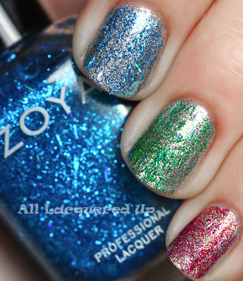 zoya twila zoya kissy zoya rina glitter top coat swatch zoya gems jewels holiday 2011