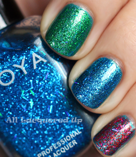 zoya twila zoya rina zoya kissy glitter top coat swatch over zoya noel holiday 2011 gems jewels