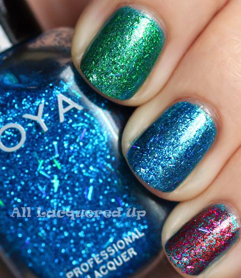 zoya twila zoya rina zoya kissy glitter top coat swatch over zoya noel holiday 2011 gems jewels