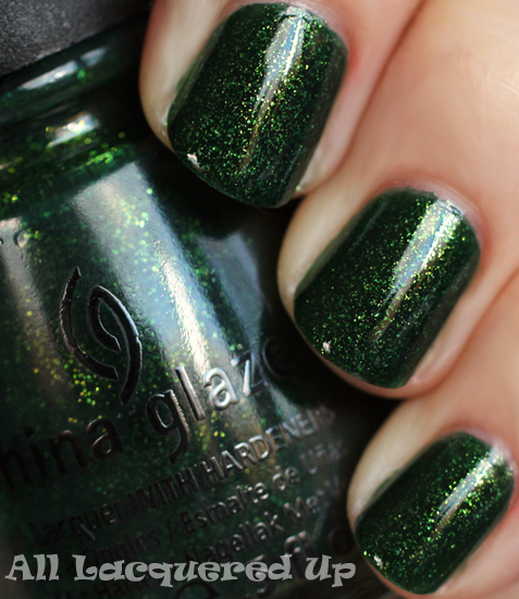 china glaze glittering garland nail polish swatch holiday 2011 let snow China Glaze Let It Snow Holiday 2011   Greens & Golds Swatches & Review