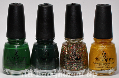 china glaze let it snow holiday 2011 nail polish collection green gold 1 China Glaze Let It Snow Holiday 2011   Greens & Golds Swatches & Review