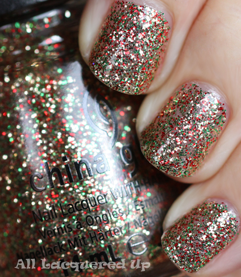 china glaze twinkle lights nail polish swatch holiday 2011 let snow China Glaze Let It Snow Holiday 2011   Greens & Golds Swatches & Review