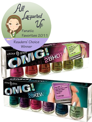 alu fanatic favorite all time nail polish collection china glaze omg All Lacquered Up Fanatic Favorites 2011   The Winners