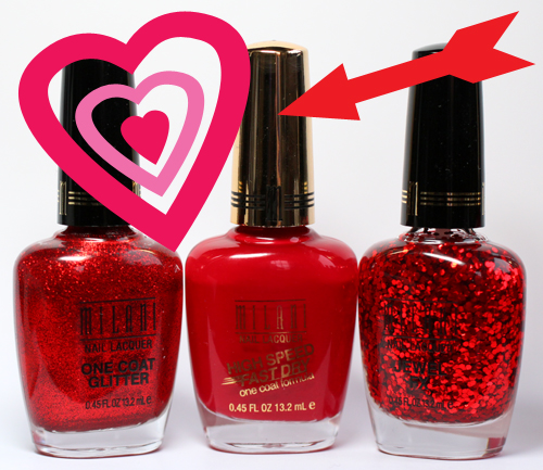 milani high speed fast dry jewel fx one coat glitter nail polish swatch Celebrate Valentines Day with a Red Hot Milani Manicure