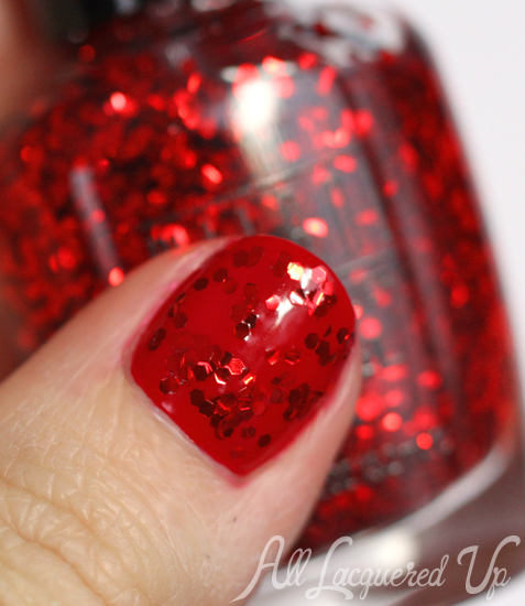 milani jewel fx red glitter top coat nail polish swatch Celebrate Valentines Day with a Red Hot Milani Manicure