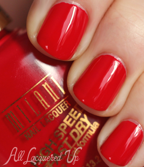 milani rapid cherry high speed fast dry nail polish swatch 1 Celebrate Valentines Day with a Red Hot Milani Manicure