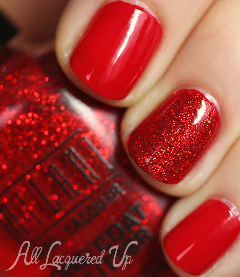 milani rapid cherry red sparkle glitter nail polish swatch 1 Celebrate Valentines Day with a Red Hot Milani Manicure