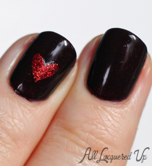 rescue beauty lounge black russian nail polish swatch heart 500x546 Through The Looking Glass with Rescue Beauty Lounge Black Russian