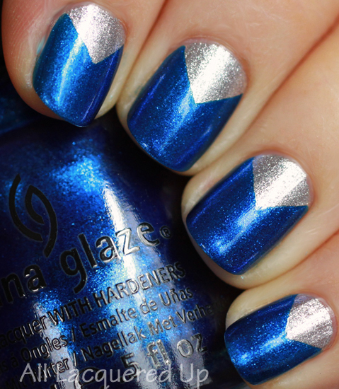 china glaze icicle blue years eve nail polish swatch chevron nail art manicure Mani Monday   Art Deco Nail Art with China Glaze for Jump Back Ball 22