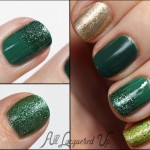 St Patrick's Day Manicure featuring a glitter gradient with Julep Emilie and China Glaze Mistletoe Kisses nail polish