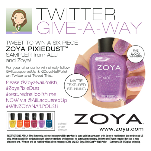 Zoya Nail Polish PixieDust Giveaway Tweet to Win