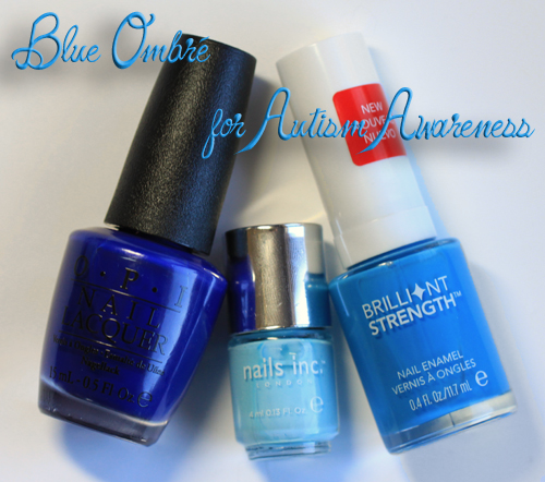blue ombre nail art manicure autism awareness nails Blue Ombre Nail Art for Autism Awareness Month