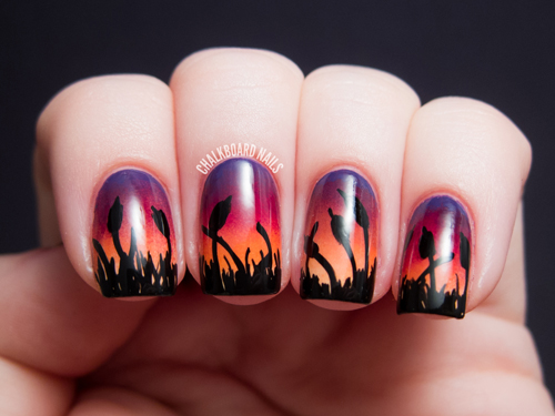 chalkboard-nails-for-alllacqueredup-cattails-sunset-gradient-ombre-nail-art