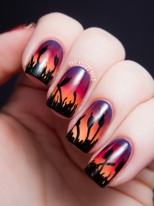 Cattails At Sunset Gradient Nail Art By Chalkboard Nails All