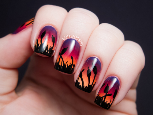 chalkboard-nails_for_alllacqueredup_gradient-ombre-nail-art-cattails-sunset - Cattails At Sunset