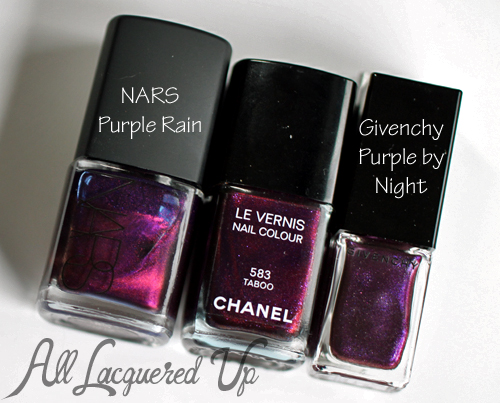 Chanel Taboo Nail Polish Comparison with NARS Purple Rain and Givenchy Purple by Night