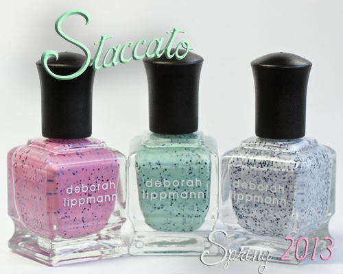 deborah lippmann stacatto speckled nail polish collection spring 2013 Deborah Lippmann Staccato Speckled Nail Polish Collection Swatches & Review