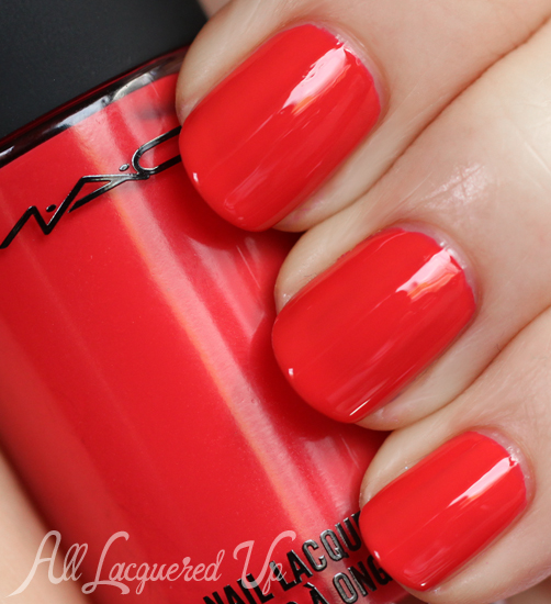 MAC Ablaze nail polish swatch