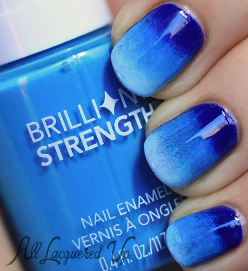 Blue ombre gradient nail art using OPI and Revlon nail polish