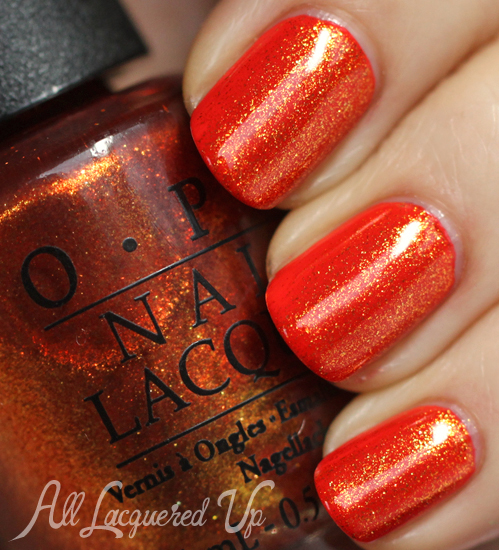 OPI A Woman's Prague-ative layered over My Paprika Is Hotter Than Yours