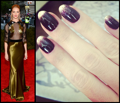 Rosie Huntington-Whiteley nail art at the Met Gala 2013 by Bernadette Thompson