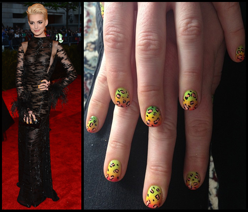 Anne Hathaway's leopard gradient nail art from the Met Gala 2013 by Alicia Torello