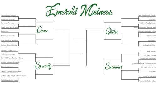 emerald madness bracket full size 500x274 Emerald Madness   Vote For The Best Emerald Green Nail Polish